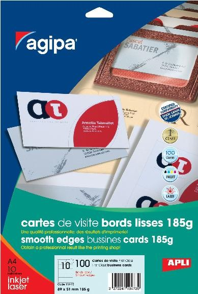 10 F Cartes Visit89x51mm 185gr Bd Lisses Agipa