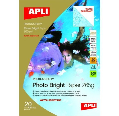 Papier photo bright pro water resist 265gr A4 20f.APLI
