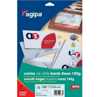 10 F. 10 cartes visit.89x51mm 185gr bd lisses  Agipa