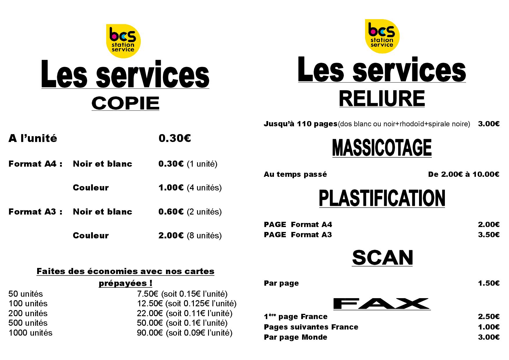 tarif services 2019