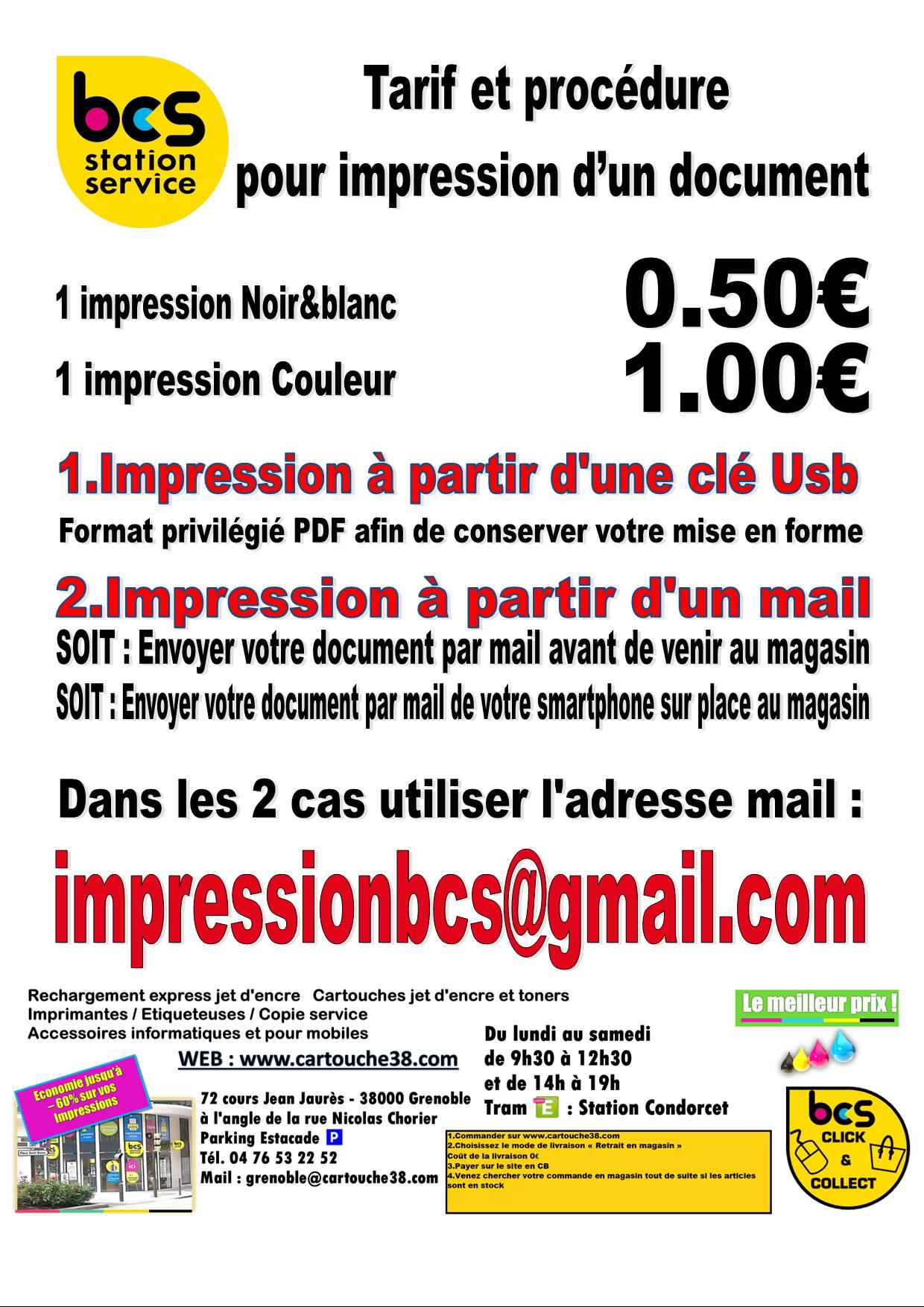 Tarif et procedure impression BCS 2021 0.50€ lundisamedi